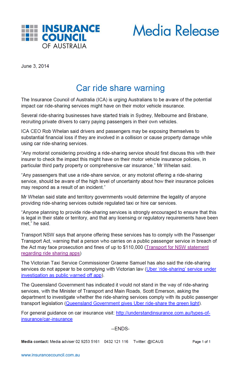 Insurance Council of Australia mislead consumers into thinking ridesharing services are illegal