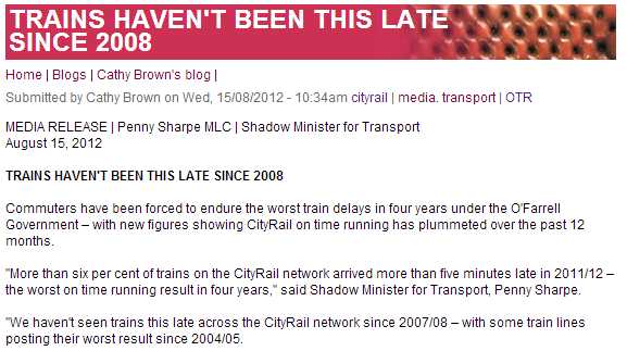 CityRail reliability gets worse
