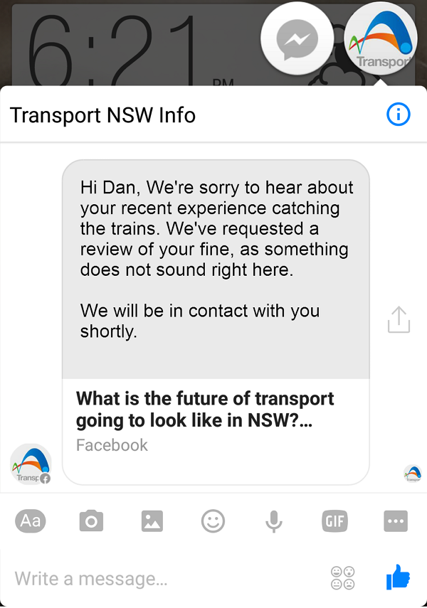 Sydney Trains write apology and promise to look review the fine.